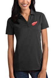 Antigua Detroit Red Wings Womens Grey Tribute Short Sleeve Polo Shirt
