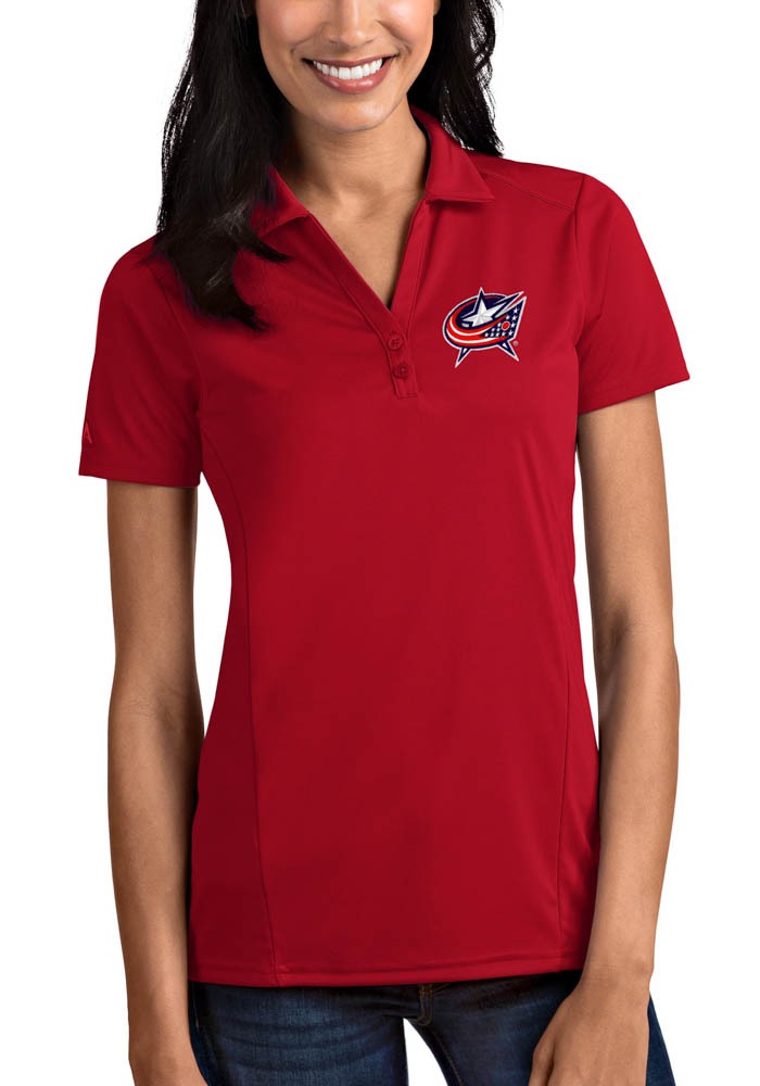 Antigua Columbus Blue Jackets Womens Red Tribute Short Sleeve Polo Shirt - Image 1