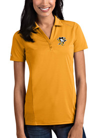 Pittsburgh Penguins Womens Antigua Tribute Polo Shirt - Gold