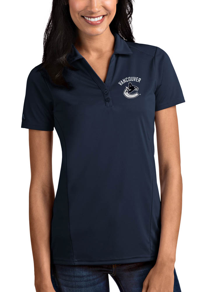 Vancouver Canucks Womens Antigua Tribute Polo Shirt - Navy Blue