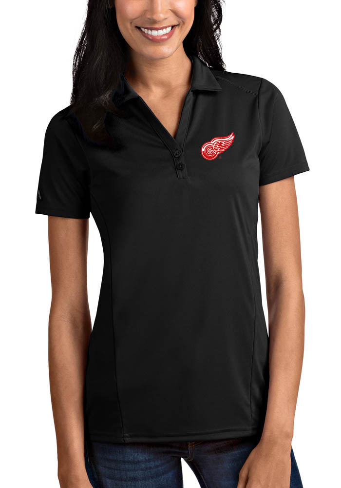 Antigua Detroit Red Wings Womens Black Tribute Short Sleeve Polo Shirt - Image 1
