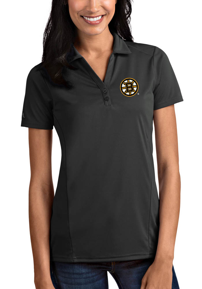 Antigua Boston Bruins Womens Grey Tribute Short Sleeve Polo Shirt - Image 1