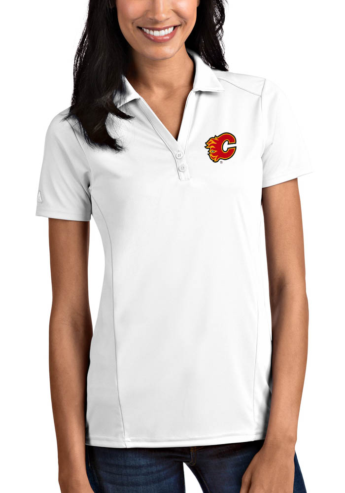 Antigua Calgary Flames Womens White Tribute Short Sleeve Polo Shirt - Image 1