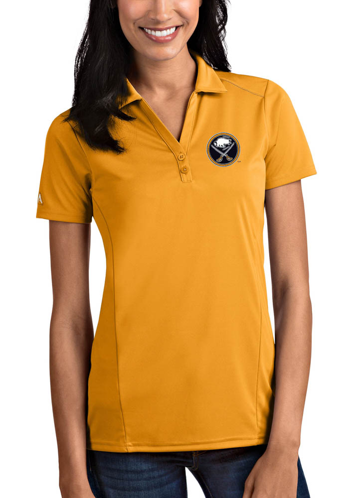 Antigua Buffalo Sabres Womens Gold Tribute Short Sleeve Polo Shirt - Image 1