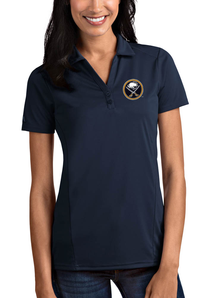 Antigua Buffalo Sabres Womens Navy Blue Tribute Short Sleeve Polo Shirt - Image 1