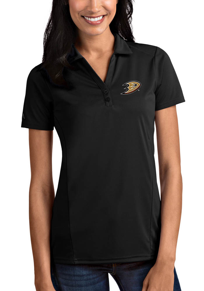 Antigua Anaheim Ducks Womens Black Tribute Short Sleeve Polo Shirt - Image 1