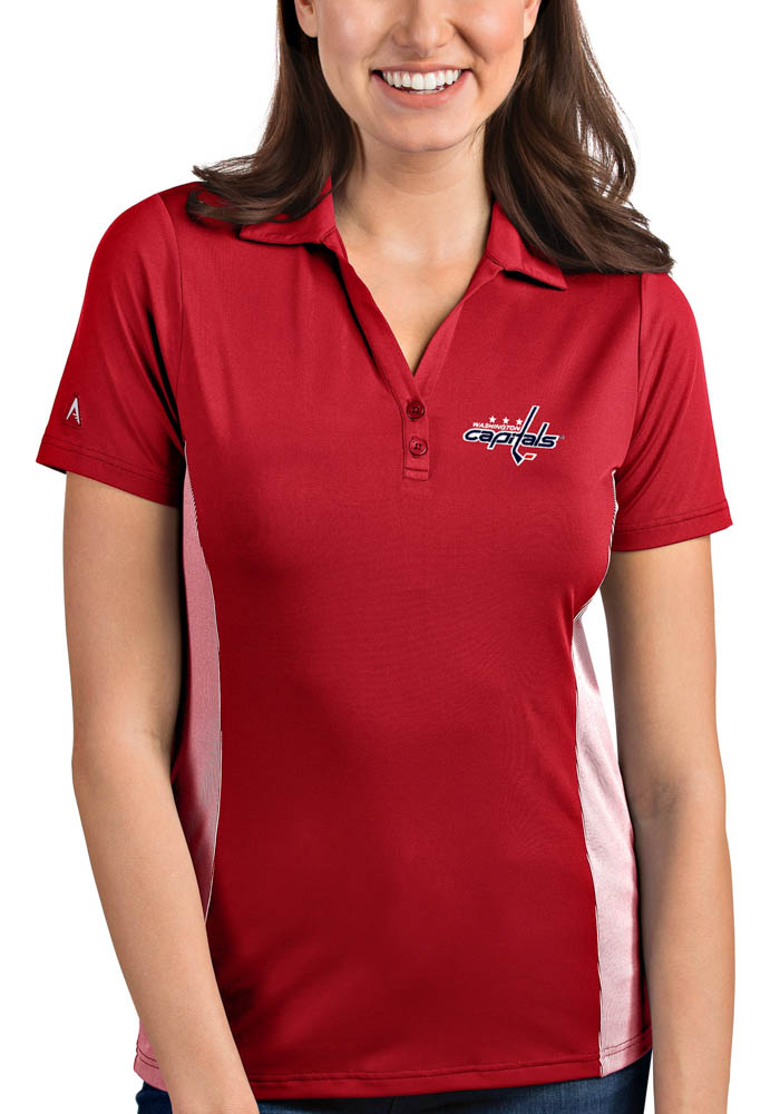 Antigua Washington Capitals Womens Red Venture Short Sleeve Polo Shirt - Image 1