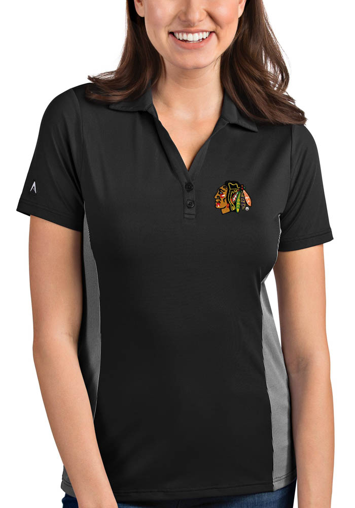 Antigua Chicago Blackhawks Womens Grey Venture Short Sleeve Polo Shirt - Image 1