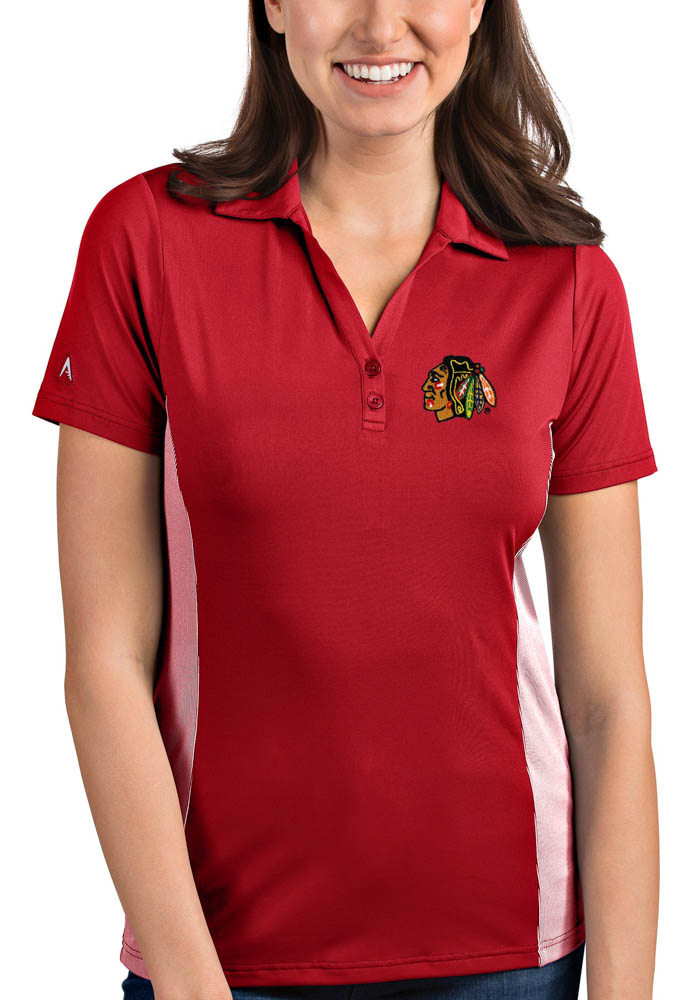 Antigua Chicago Blackhawks Womens Red Venture Short Sleeve Polo Shirt - Image 1