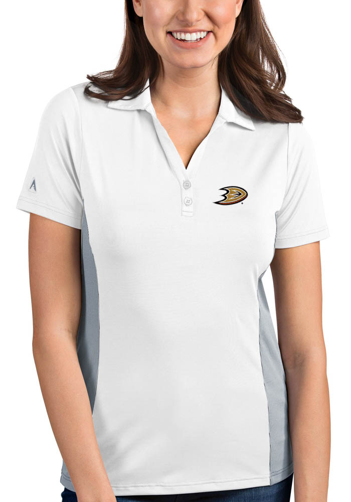 Antigua Anaheim Ducks Womens White Venture Short Sleeve Polo Shirt - Image 1