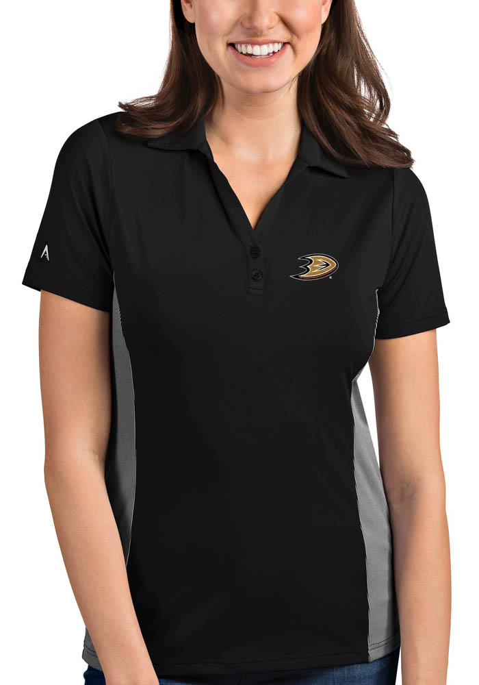 Antigua Anaheim Ducks Womens Black Venture Short Sleeve Polo Shirt - Image 1