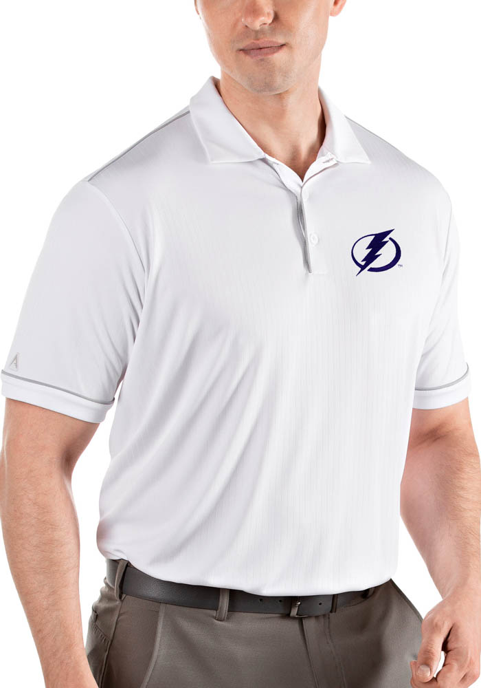 Antigua Tampa Bay Lightning Mens White Salute Short Sleeve Polo - Image 1