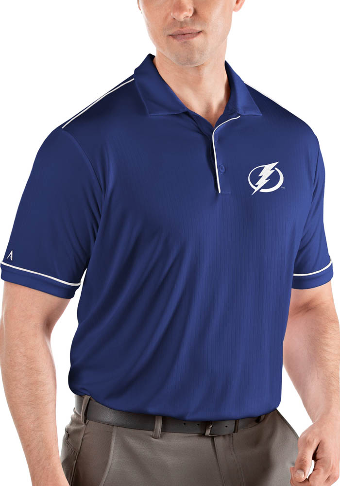 Antigua Tampa Bay Lightning Mens Blue Salute Short Sleeve Polo - Image 1