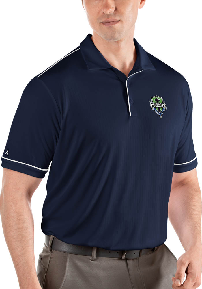 Antigua Seattle Sounders FC Mens Navy Blue Salute Short Sleeve Polo - Image 1
