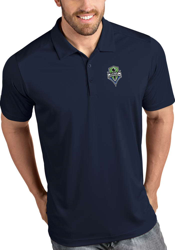 Antigua Seattle Sounders FC Mens Navy Blue Tribute Short Sleeve Polo - Image 1