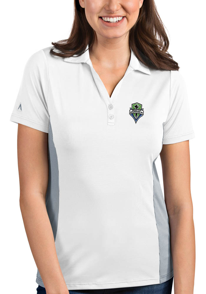 Antigua Seattle Sounders FC Womens White Venture Short Sleeve Polo Shirt - Image 1