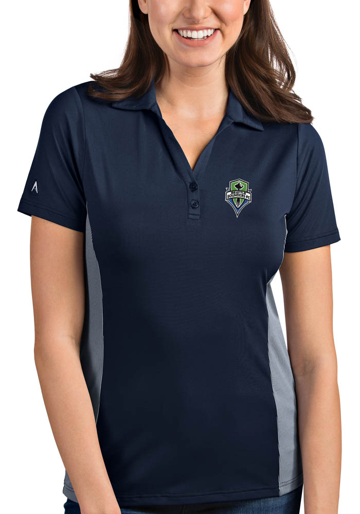 Antigua Seattle Sounders FC Womens Navy Blue Venture Short Sleeve Polo Shirt - Image 1