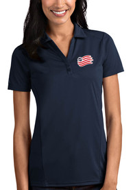 New England Revolution Womens Antigua Tribute Polo Shirt - Navy Blue