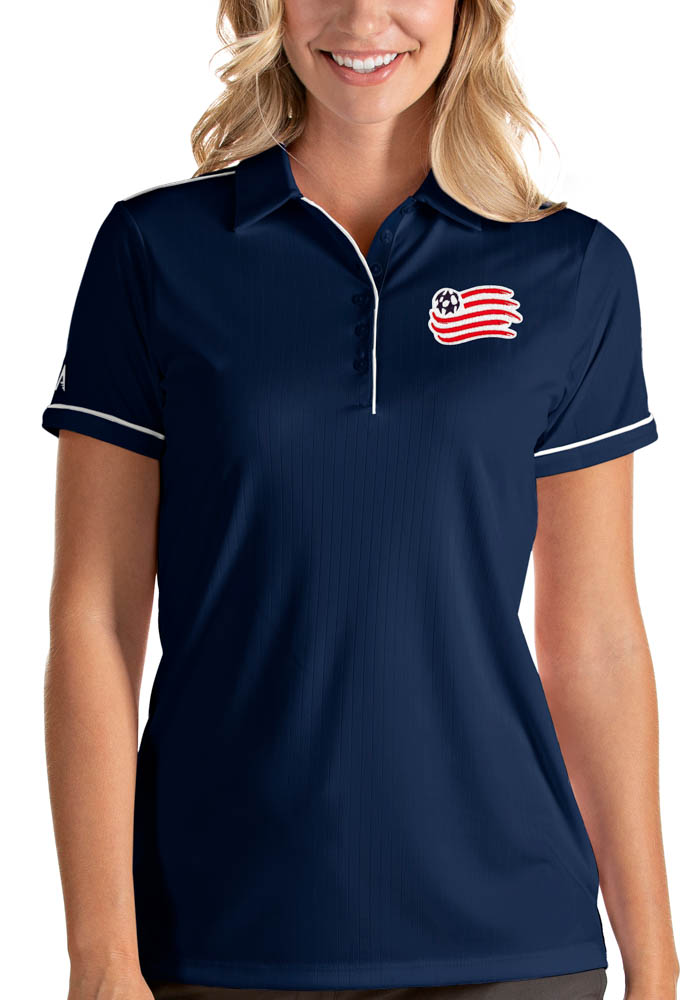Antigua New England Revolution Womens Navy Blue Salute Short Sleeve Polo Shirt - Image 1
