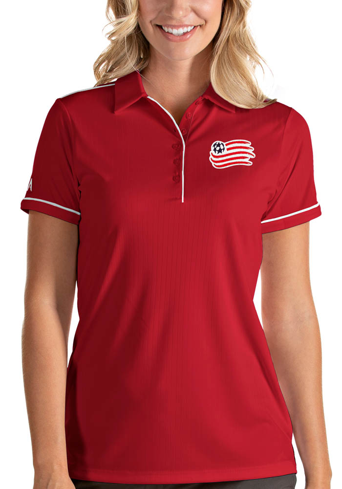 Antigua New England Revolution Womens Red Salute Short Sleeve Polo Shirt - Image 1