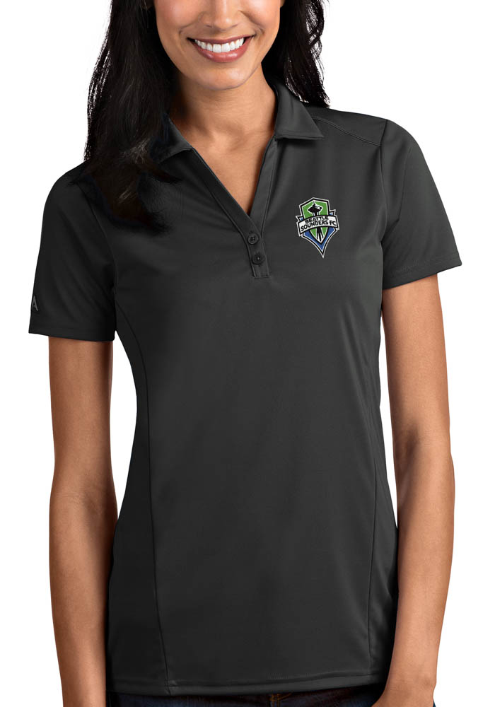 Antigua Seattle Sounders FC Womens Grey Tribute Short Sleeve Polo Shirt - Image 1