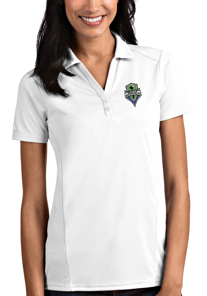 Antigua Seattle Sounders FC Womens White Tribute Short Sleeve Polo Shirt - Image 1