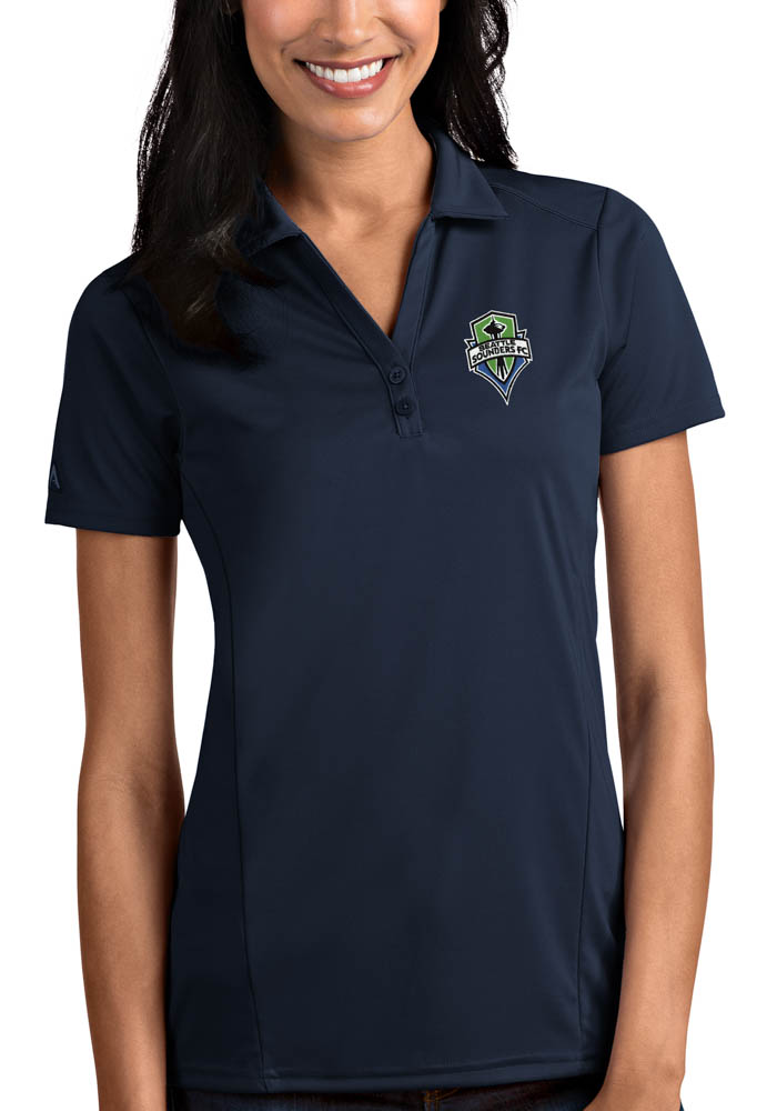 Seattle Sounders FC Womens Antigua Tribute Polo Shirt - Navy Blue