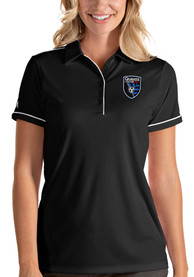 San Jose Earthquakes Womens Antigua Salute Polo Shirt - Black