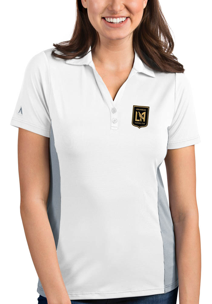 Antigua Los Angeles FC Womens White Venture Short Sleeve Polo Shirt - Image 1
