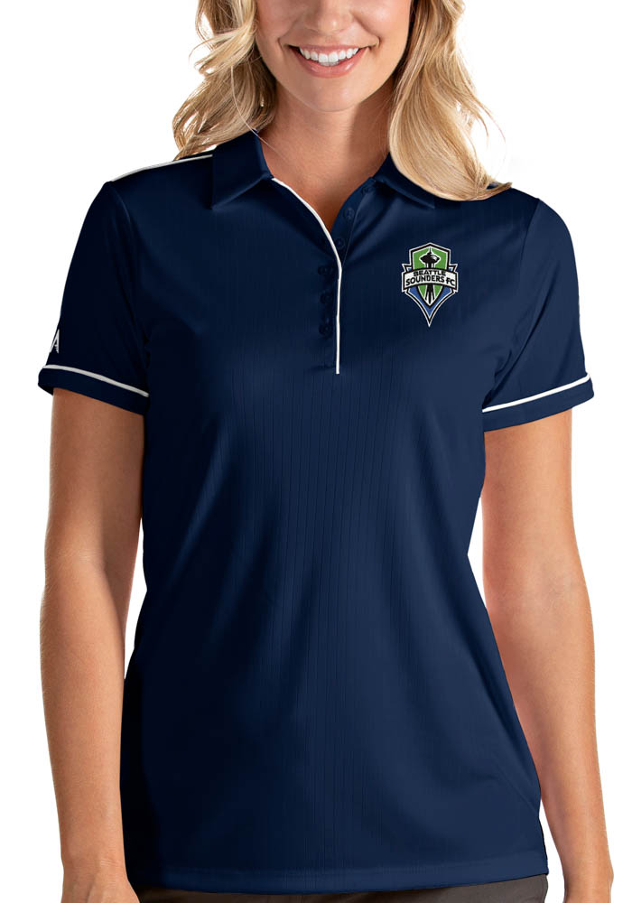 Antigua Seattle Sounders FC Womens Navy Blue Salute Short Sleeve Polo Shirt - Image 1