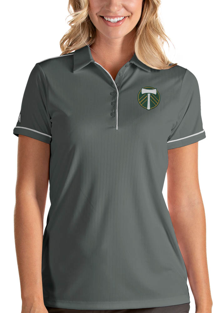 Antigua Portland Timbers Womens Grey Salute Short Sleeve Polo Shirt - Image 1