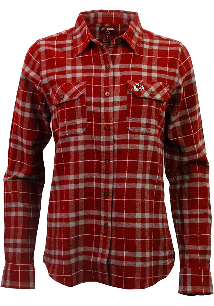 Antigua Kansas City Chiefs Womens Stance Flannel Long Sleeve Red Dress Shirt - Image 1