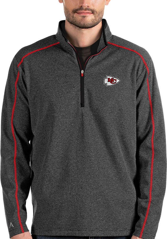 Antigua Kansas City Chiefs Black Brawn 1/4 Zip Pullover