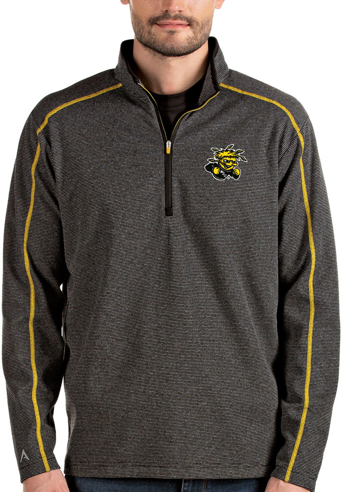 Antigua Wichita State Shockers Mens Black Brawn Long Sleeve 1/4 Zip Pullover - Image 1