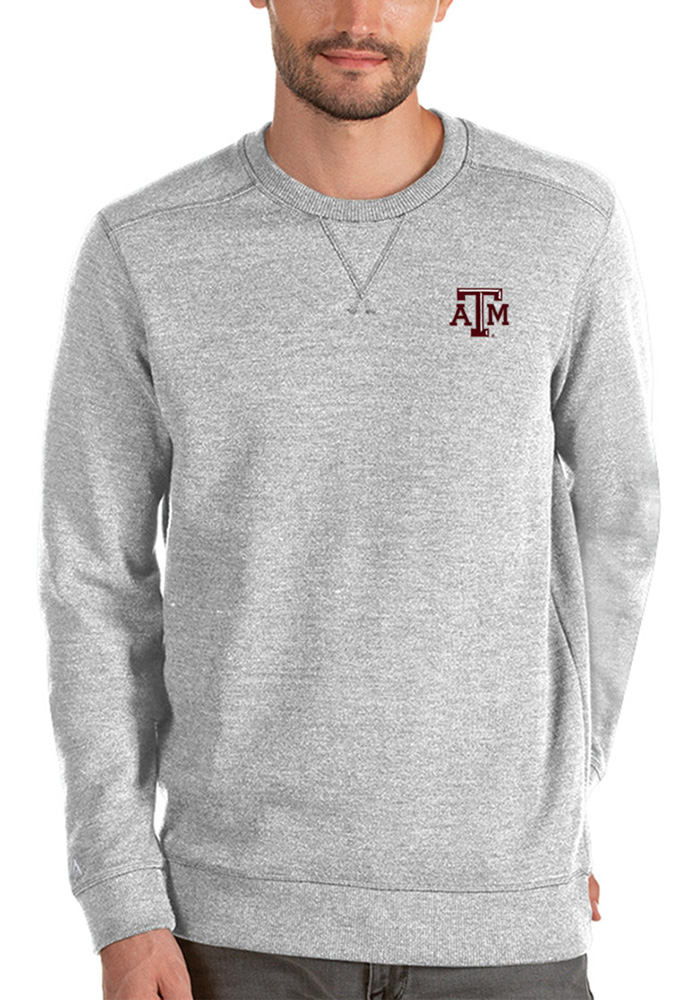 Antigua Texas A&M Aggies Mens Grey Defender Long Sleeve Sweater - Image 1