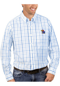 Antigua Kansas Jayhawks Blue Keen Dress Shirt
