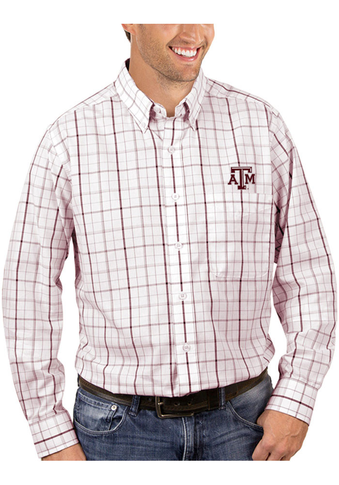 Antigua Texas A&M Aggies Mens White Keen Long Sleeve Dress Shirt - Image 1