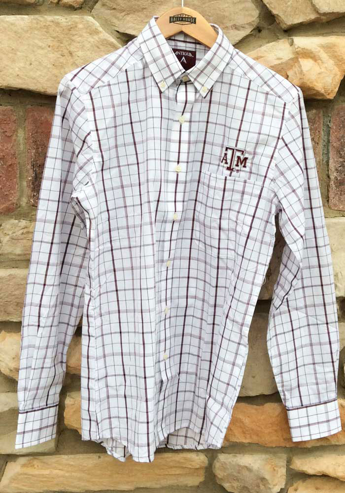 Antigua Texas A&M Aggies Mens White Keen Long Sleeve Dress Shirt - Image 2