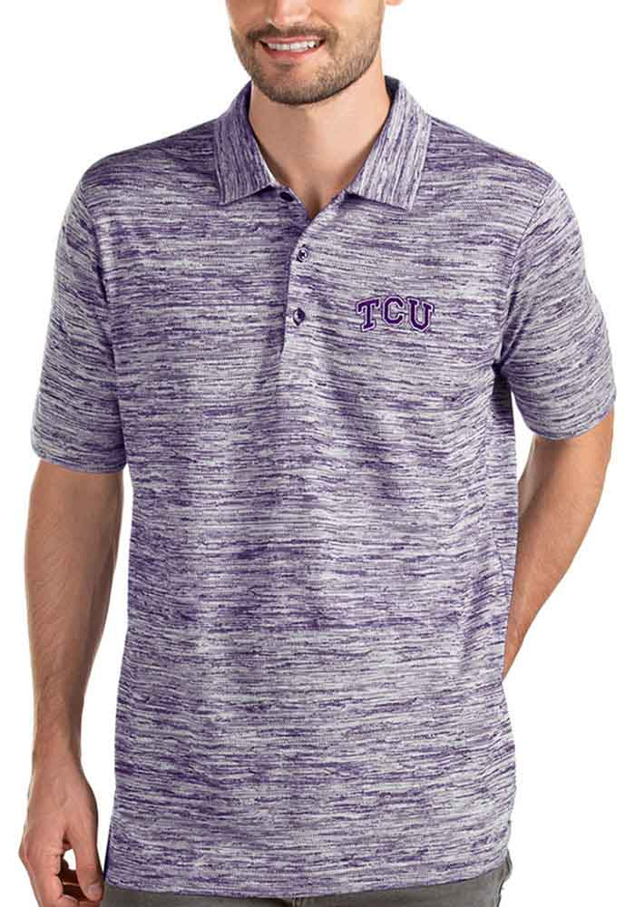 Antigua TCU Horned Frogs Mens Purple Possession Short Sleeve Polo - Image 1