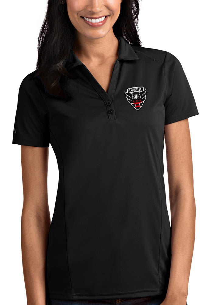 Antigua DC United Womens Black Tribute Short Sleeve Polo Shirt - Image 1