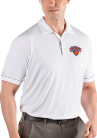 Antigua New York Knicks White Salute Short Sleeve Polo Shirt