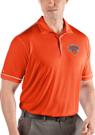 Antigua New York Knicks Orange Salute Short Sleeve Polo Shirt