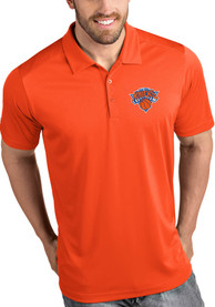 Antigua New York Knicks Orange Tribute Short Sleeve Polo Shirt
