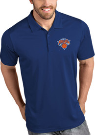 Antigua New York Knicks Blue Tribute Short Sleeve Polo Shirt
