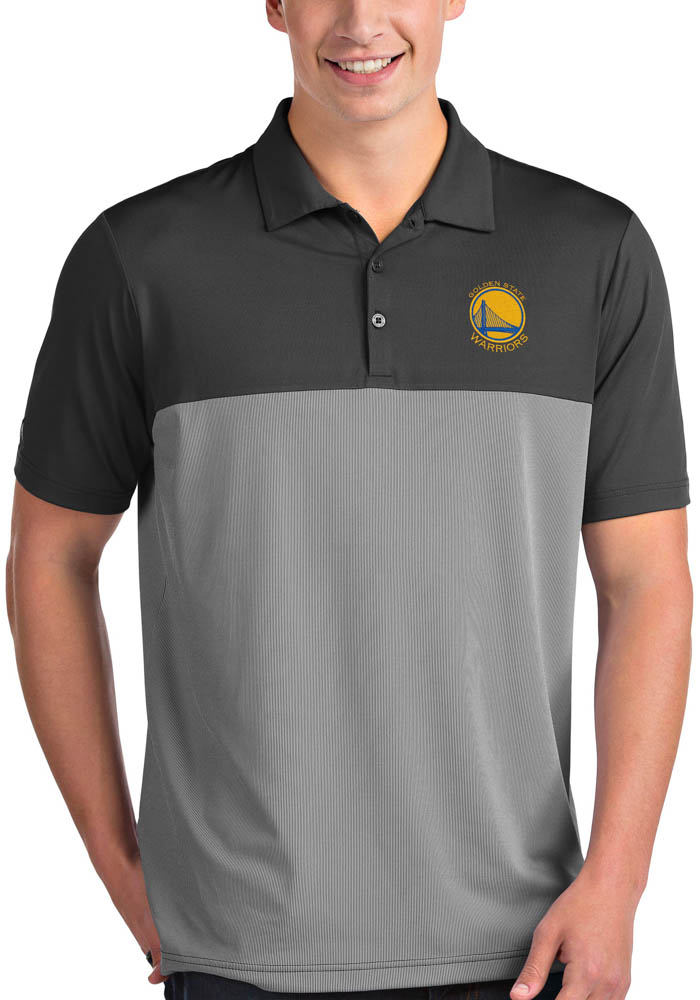 Antigua Golden State Warriors Mens Grey Venture Short Sleeve Polo - Image 1