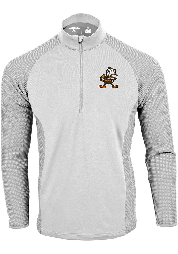 Antigua Cleveland Browns Mens White Sonar Long Sleeve 1/4 Zip Pullover - Image 1