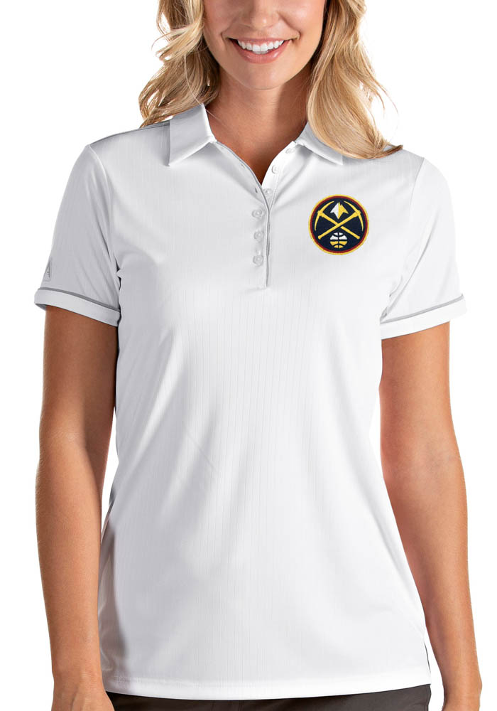 Antigua Denver Nuggets Womens White Salute Short Sleeve Polo Shirt - Image 1