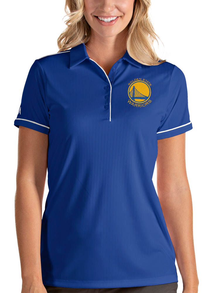 Antigua Golden State Warriors Womens Blue Salute Short Sleeve Polo Shirt - Image 1