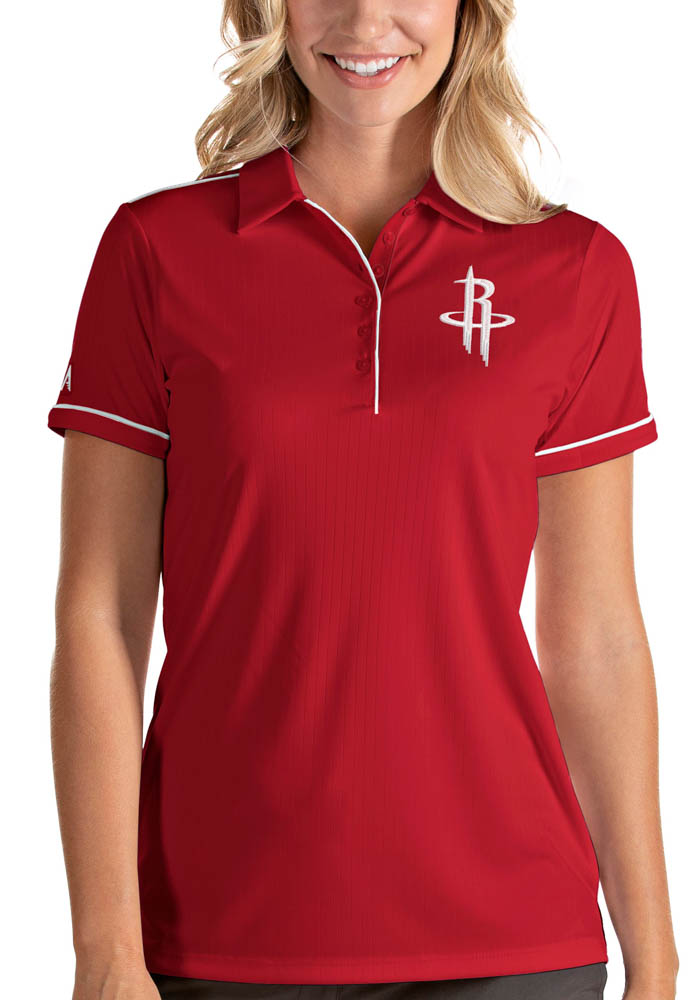 Antigua Houston Rockets Womens Red Salute Short Sleeve Polo Shirt - Image 1