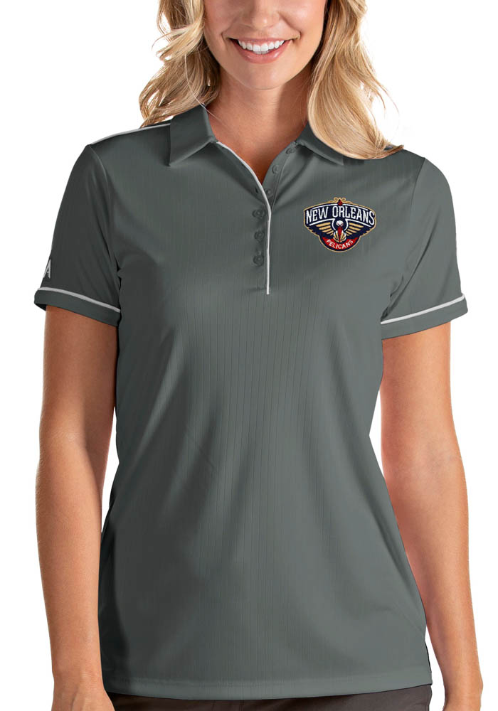 Antigua New Orleans Pelicans Womens Grey Salute Short Sleeve Polo Shirt - Image 1